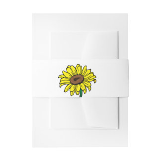 Floral Yellow Sunflower Yellow Green Wedding Invitation Belly Band
