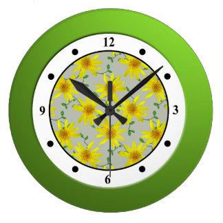 Floral Yellow Wildflower Modern Digits Wall Clock