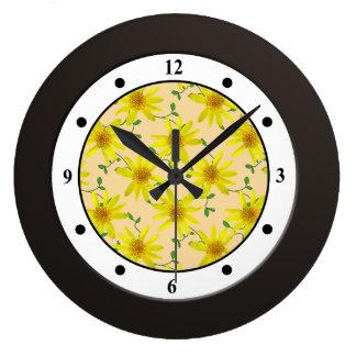 Floral Yellow Wildflower Modern Digits Wallclock