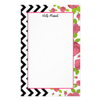 Floral & Zigzag Mixed Prints Stationery