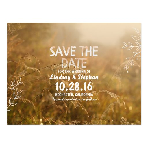 florals and dreamy nature save the date postcards