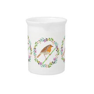 Florals and robin bird pitcher