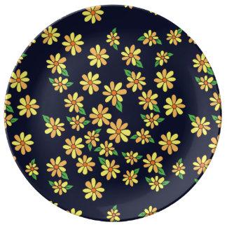 florals daisy porcelain plate