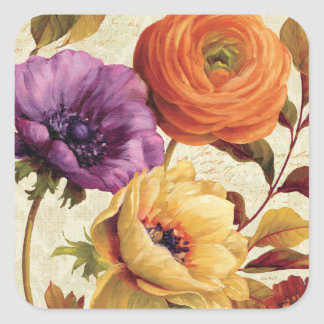 Florals in Full Bloom Square Sticker