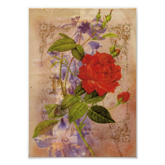 Florals Vintage Digital Collage Poster