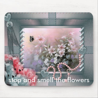 floralwall, stop and smell the flowers mouse pad