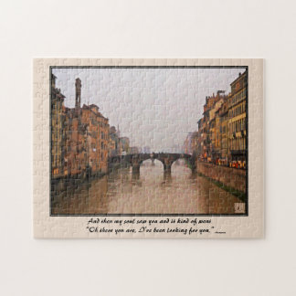 Florence Bridge With Love Quote Jigsaw Puzzle