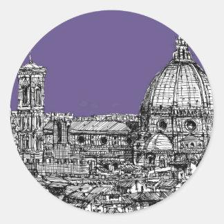 Florence duomo lilac purple round stickers
