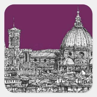 Florence duomo purple square stickers