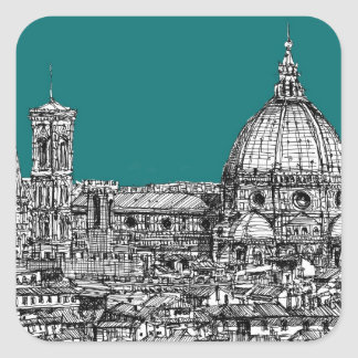 Florence in turquoise square stickers