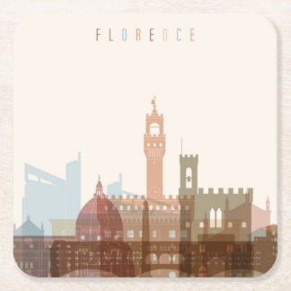 Florence, Italy | City Skyline Square Paper Coaster