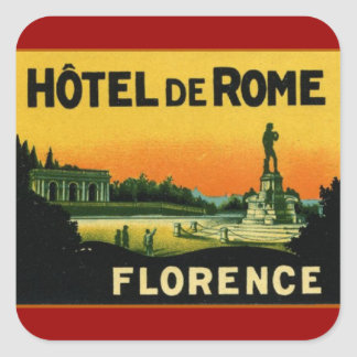 Florence Italy HOTEL DeROME Square Sticker