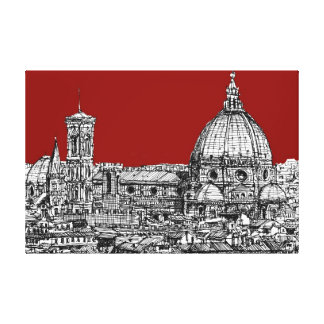 Florence Italy in red Stretched Canvas Print