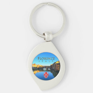 Florence - Ponte Vecchio Silver-Colored Swirl Key Ring