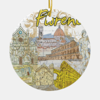 Florence Round Ceramic Decoration