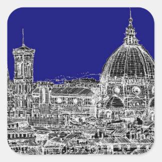 Florence royal blue square sticker