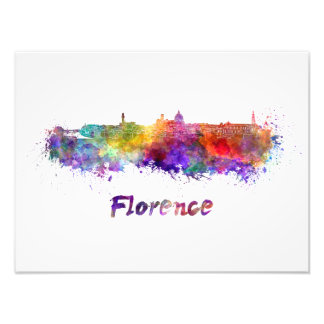 Florence skyline in watercolor photo print