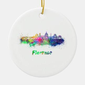 Florence V2 skyline in watercolor Ceramic Ornament