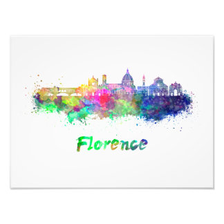 Florence V2 skyline in watercolor Photo Print