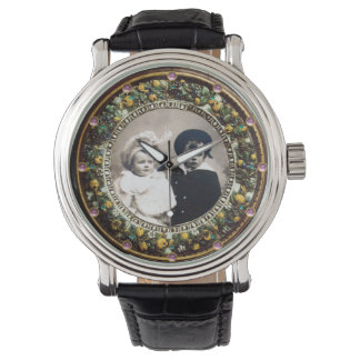 FLORENTINE BROWN FLORAL CROWN PHOTO TEMPLATE WRISTWATCHES