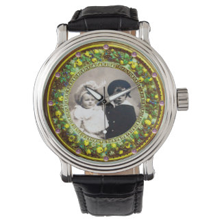 FLORENTINE GREEN FLORAL CROWN PHOTO TEMPLATE WATCHES