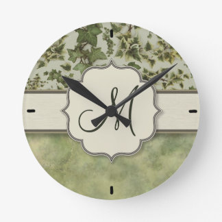 Florentine Watercolor Ivy with Monogram Wall Clock