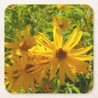 """Flores en mi hierbas """" flowers in my weeds """" square paper coaster"""