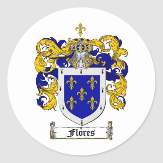 FLORES FAMILY CREST -  FLORES COAT OF ARMS CLASSIC ROUND STICKER