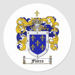 FLORES FAMILY CREST -  FLORES COAT OF ARMS ROUND STICKERS