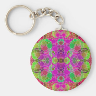 Florescent Abstract Basic Round Button Key Ring