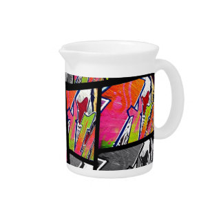 Florescent Black&White Abstract Beverage Pitcher