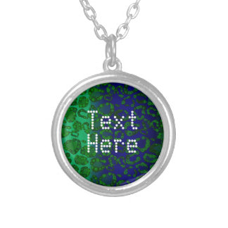Florescent Blue Green Cheetah Round Pendant Necklace