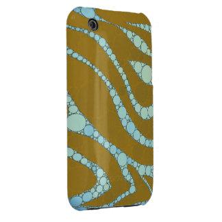 Florescent Blue Tan Zebra Case-Mate iPhone 3 Case
