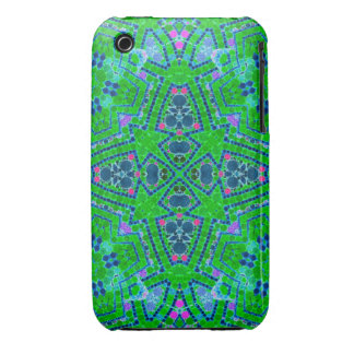 Florescent Green Abstract Pattern iPhone 3 Case-Mate Cases
