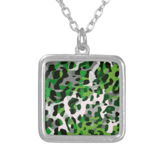 Florescent Green Grey Cheetah Abstract Square Pendant Necklace