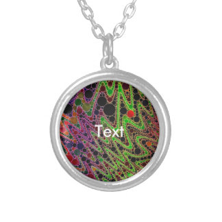 Florescent Green Orange Zigzag Abstract Round Pendant Necklace