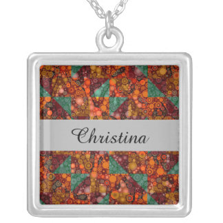 Florescent Orange Abstract Cheetah Silver Plated Necklace