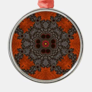 Florescent Orange and grey Fractal Kelidescopee Ornament
