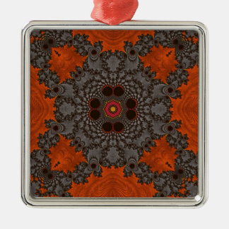 Florescent Orange and grey Fractal Kelidescopee Christmas Ornaments