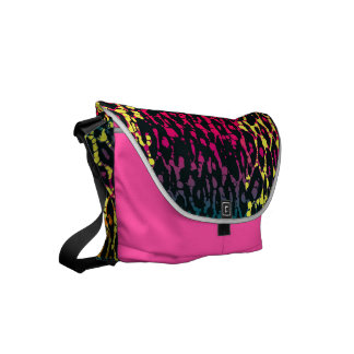 Florescent Pink Black Cheetah Abstract Courier Bag