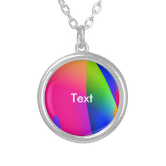 Florescent Pink Blue Abstract Pattern Round Pendant Necklace