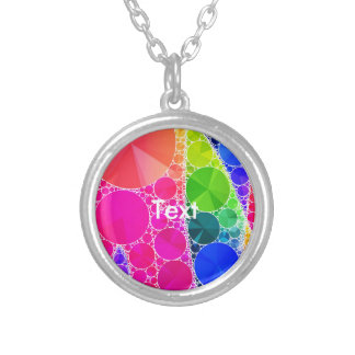 Florescent Pink Blue Bling Abstract Round Pendant Necklace