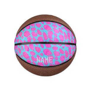 Florescent Pink Blue Cheetah Mini Basketball