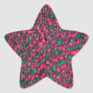 Florescent Pink Green Leopard Grunge Star Sticker