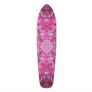 Florescent Pink Grey Abstract Skateboard Deck