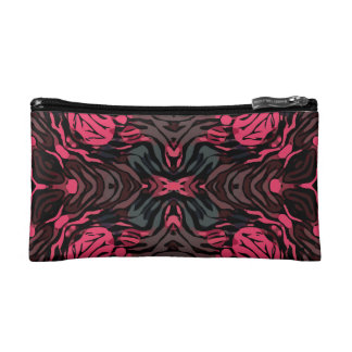 Florescent Pink Grey Zebra Makeup Bags