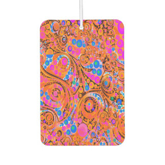 Florescent Pink Orange Abstract Car Air Freshener