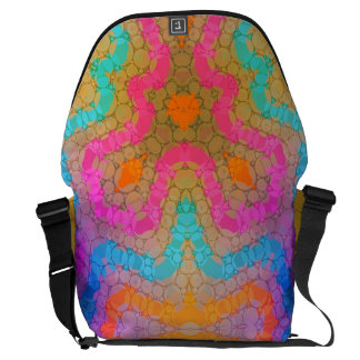 Florescent Pink Turquoise Abstract Messenger Bag