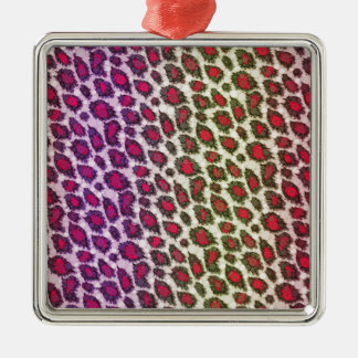 Florescent Printed Bling Animal Print Silver-Colored Square Decoration