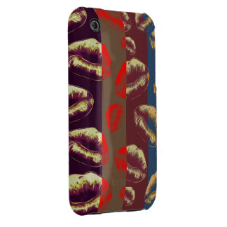 Florescent Red Striped Lips iPhone 3 Cover